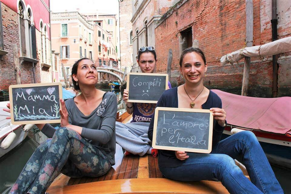 Verbalists students, gondola ride, Venice