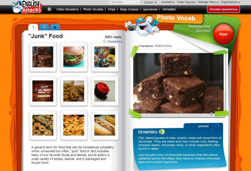 Engleski recnik za junk food