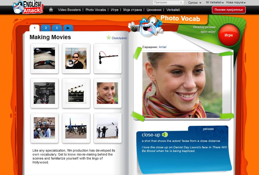 Ucenje engleskog i snimanje filmova
